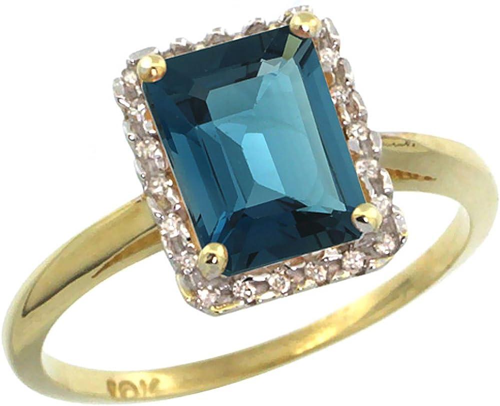 Silver City Jewelry 10k Yellow Gold Diamond Natural London Blue Topaz Ring Emerald Cut 8x6mm Sizes 5 10 Amazon Com