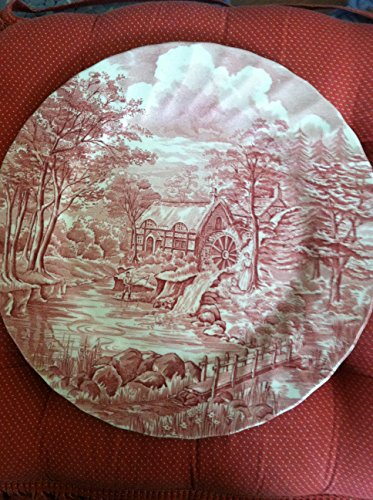 """Alfred Meakin Staffordshire England The Mill Pink plate 10"""""""