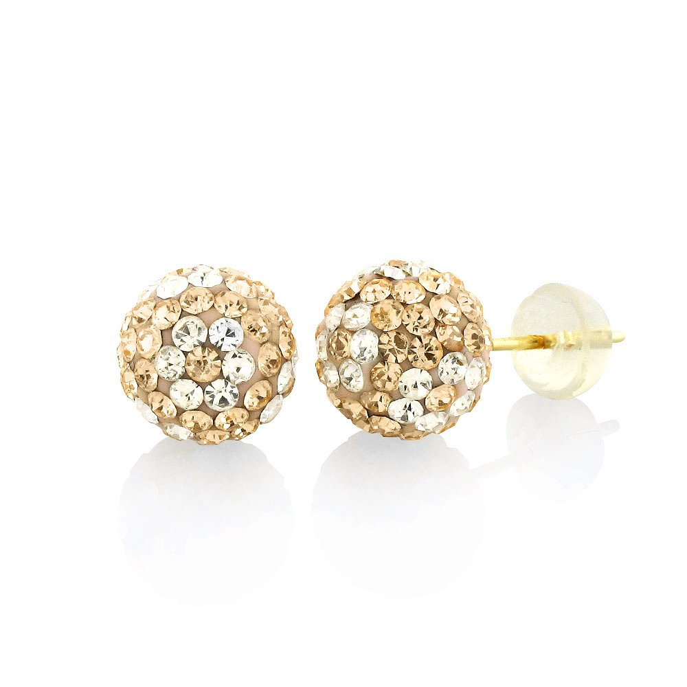 14k Yellow Gold 8mm Austrian Crystal Ball Peach with White Flower Stud Earrings