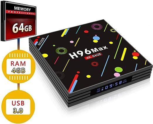GWX Smart TV de Alta definición, Caja de Android 7.1 Set Top, Receptor de TV 4G 64G Ram ROM USB3.0 Transmisión de Cliente para Cine en casa y Juegos: Amazon.es: Hogar