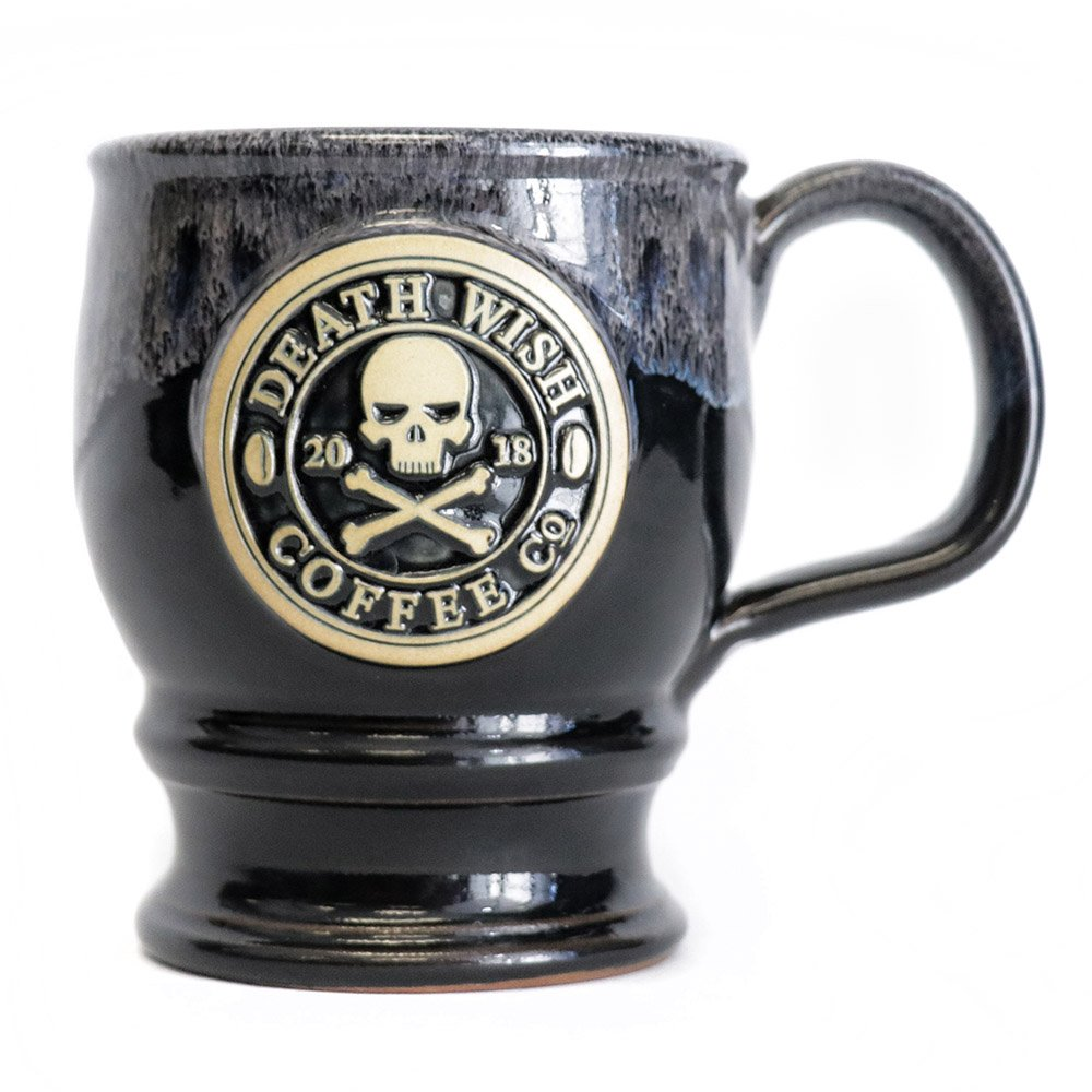 2018 Edition Collectible Death Wish Coffee Ceramic Mug - Black with Grey Glaze - Handmade in the U.S.A - 14 Ounce