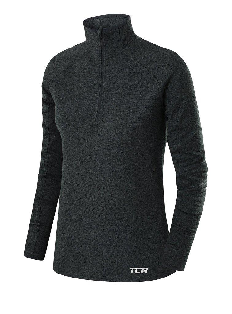 TCA Women's Cloud Fleece ¼ Zip Thermal Running Top with Zip Pocket - Quiet Shade Gray, X Small