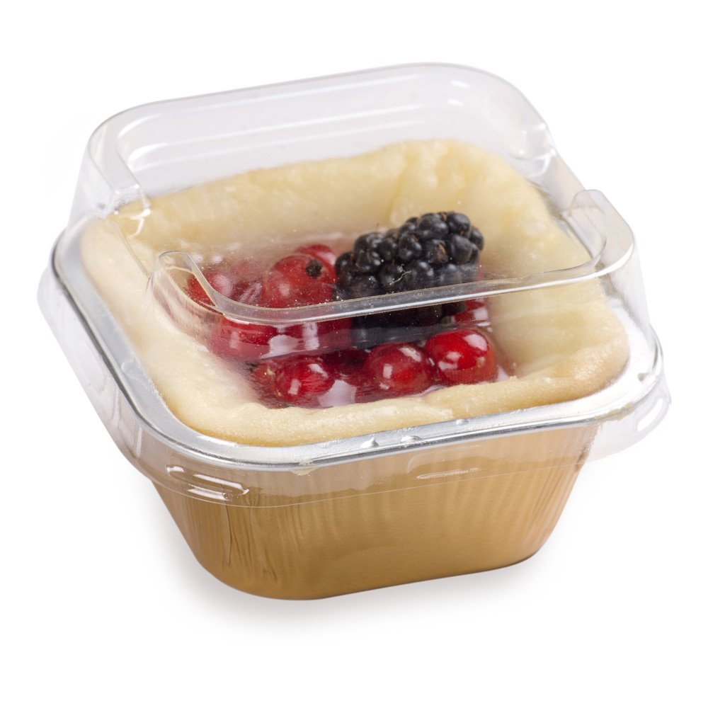 Premium 3.4-OZ Baking Cups with Lids - Square Foil Baking Cups & Lids Perfect for Fancy Desserts or Mini Snacks - Gold Cup with Clear Lid - Oven & Freezer Safe - Recyclable - 100-CT by Restaurantware (Image #1)