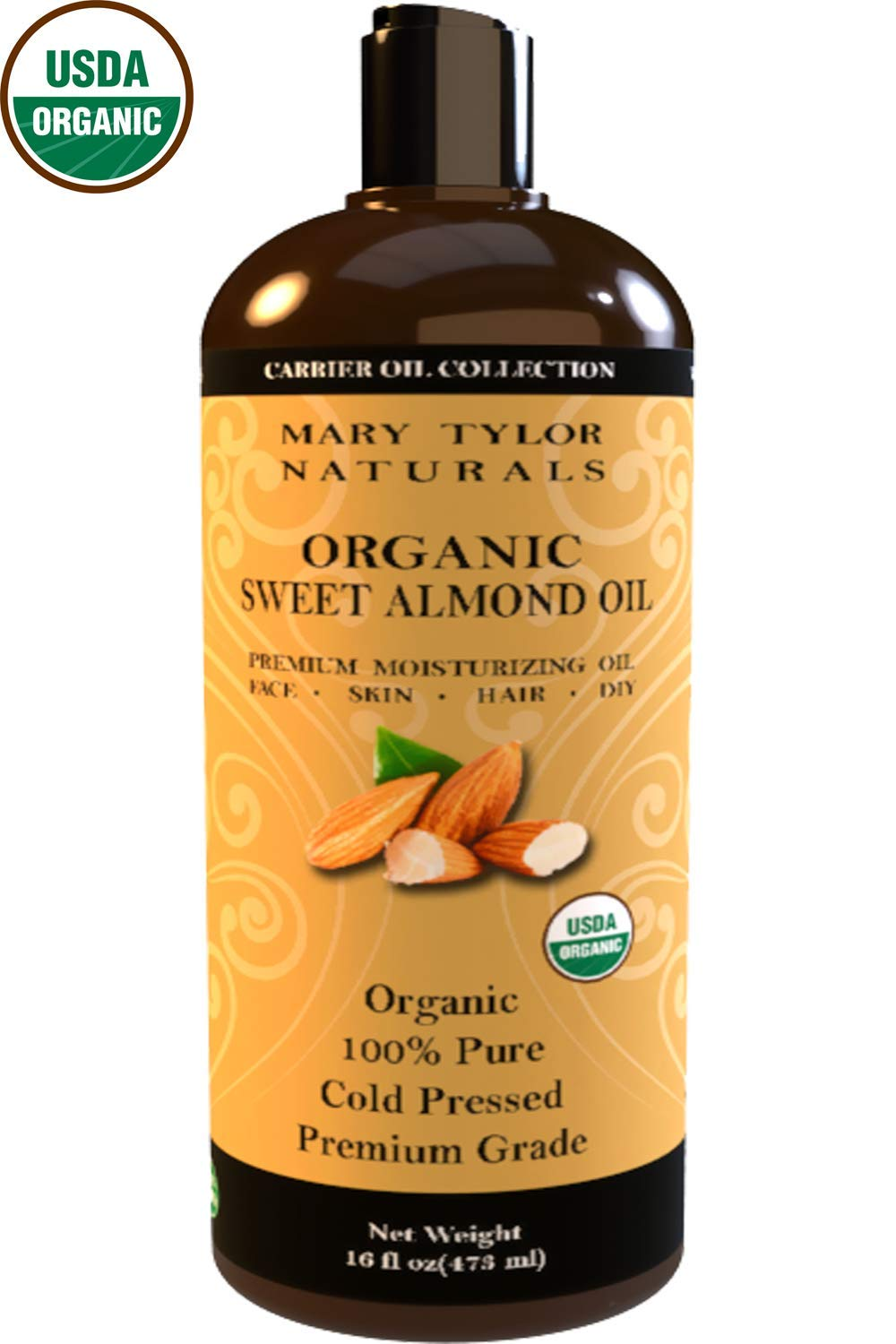 Organic Sweet Almond Oil (16 oz) USDA Organic, Cold Pressed, Hexane Free, 100% Pure, Amazing Moisturizer for Skin Best Carrier oil for all Your DIY Projects Great as Baby Oil by Mary Tylor Naturals