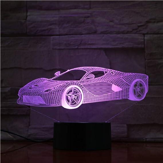 BFMBCHDJ Control táctil remoto Super Car Night Light LED Vision Stereo Acrylic Panel Decoración de la mesa 7 colores Cambiar la lámpara del dormitorio: Amazon.es: Iluminación