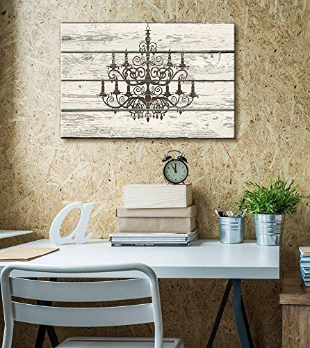 Chandelier Silhouette Crystal Candles Artwork Rustic