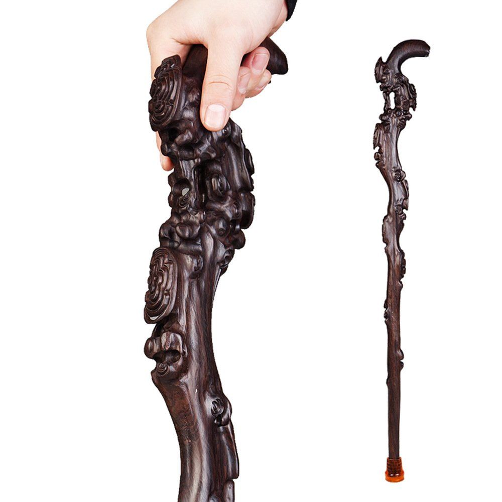 ステッキ杖黒檀で絶妙な木彫りクラフト B07D8LQGMM