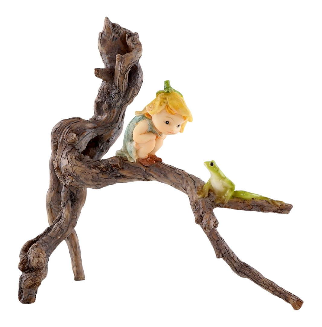 Top Collection Miniature Fairy Garden and Terrarium Garden Sprite with Tree Frog Statue
