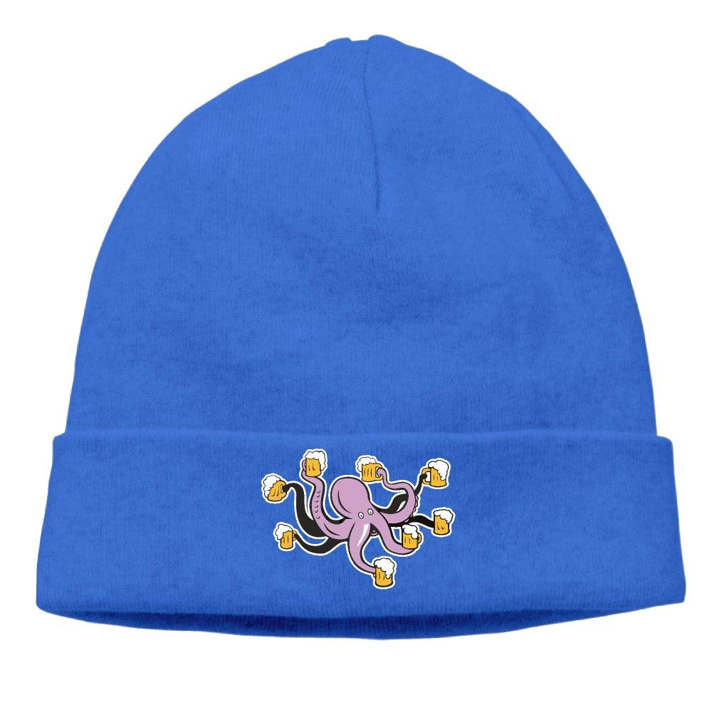 09/&JGJG Octopus Holding Beer Mug Men Women Beanie Cap Knit Warm Fleece Lined Skull Cap