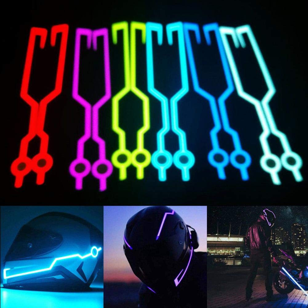 YOUNGFLY 2Pcs LED Light for Motorcycle Helmet Night Riding Safety Signal Flashing Stripe Bar Sticker Lamp Yellow
