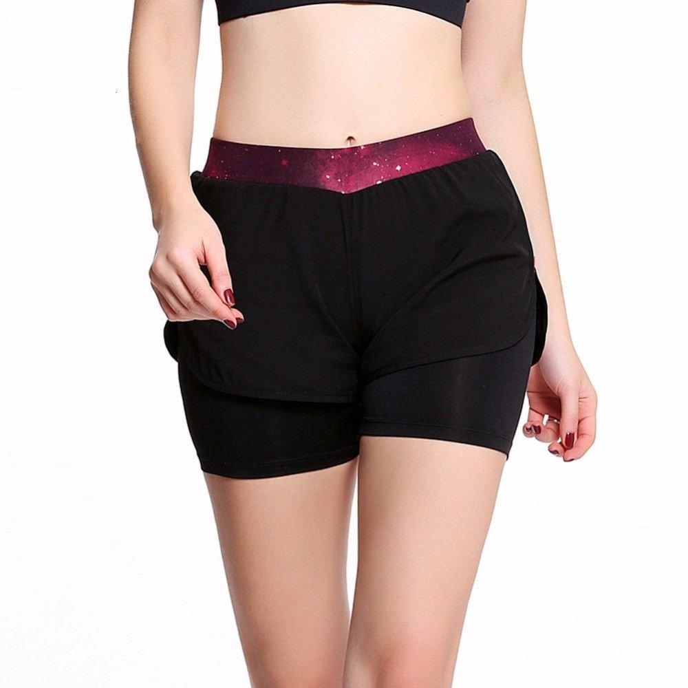 MAYUAN520 Le Yoga de la Damenschuhe Anti-Short Léger Faux 2 Pièces Pantalon respirant Sport Haute qualité Étirée Noire