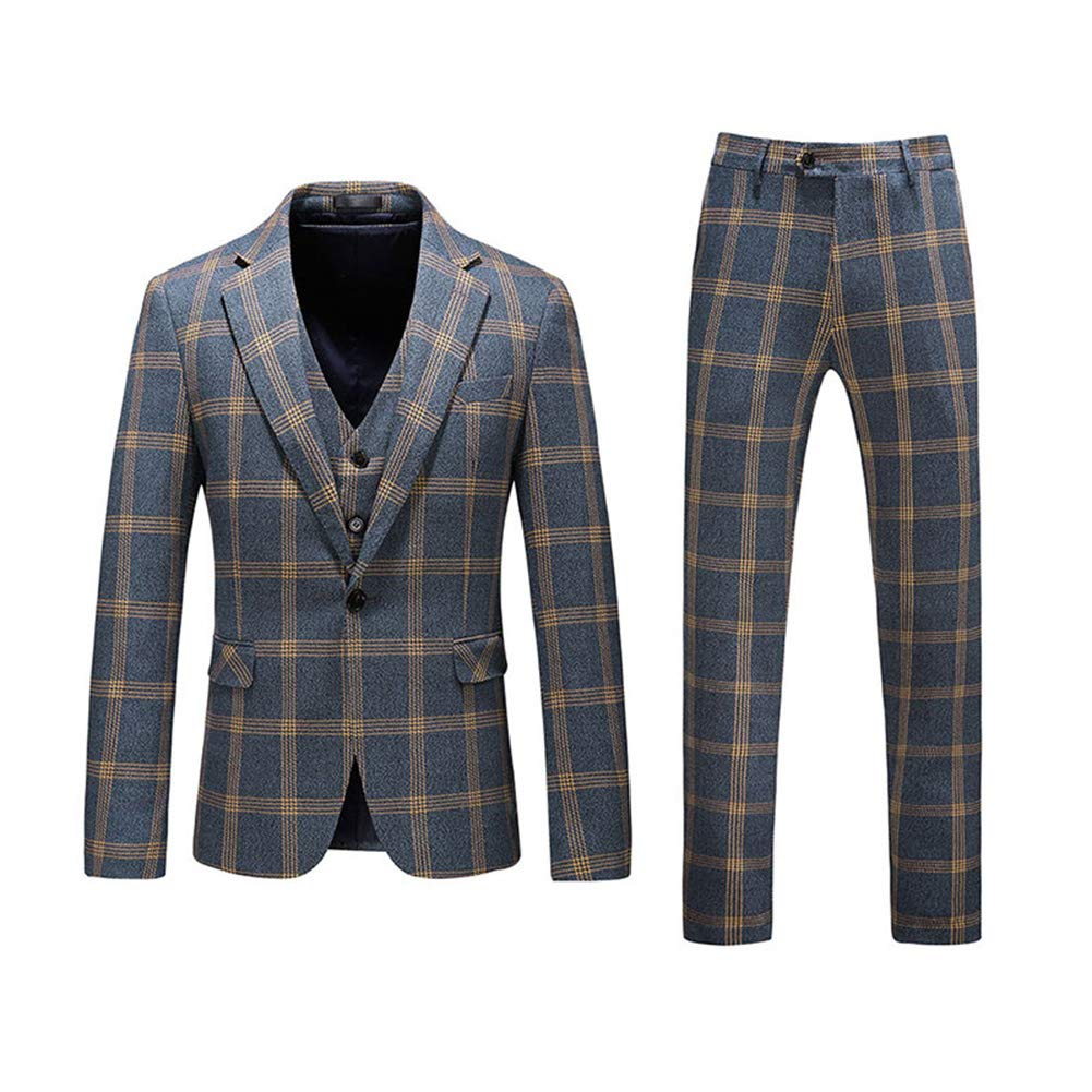 Mens Plaid Tweed 3 Piece Suit Slim Fit One Button Dinner Suit Tuxedo,Green,X-Large by YFFUSHI