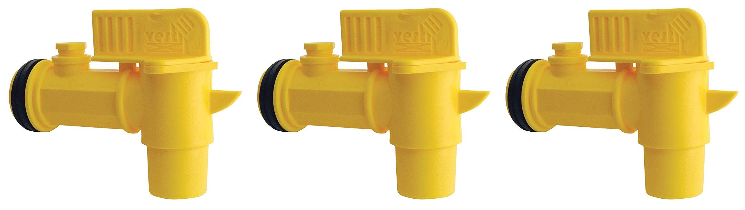 Vestil JDFT Plastic Manual Handle Jumbo Drum Faucet, Fits 2'' Drum Openings (Тhrее Pаck, Yellow)