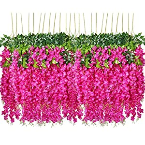 Pauwer 3.6 Feet/Piece Artificial Wisteria Vine Ratta Fake Wisteria Hanging Garland Silk Long Hanging Bush Flowers String Home Party Wedding Decor 41