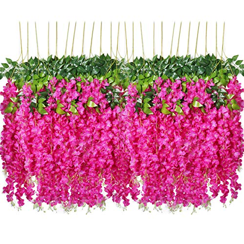 Pauwer 24 Pack 3.6 Feet/Piece Artificial Wisteria Vine Ratta Fake Wisteria Hanging Garland Silk Long Hanging Bush Flowers String Home Party Wedding Decor (Fuchsia)