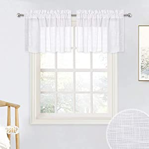 RYB HOME Linen Textured White Curtains Sheer Window Toppers Valances Semi-Sheer Drapes for Kitchen Bedroom Small Window Decor Cafe Curtains, Wide 52 x Long 18 inch per Panel, 1 Pair