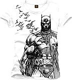 Batman - T-shirt DC Comics con grande stampa frontale di Batman e pipistrelli - Cotone - Bianco