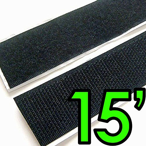 1' Self Adhesive Hook & Loop Sticky Back Tape Fabric Fastener - 15 Feet