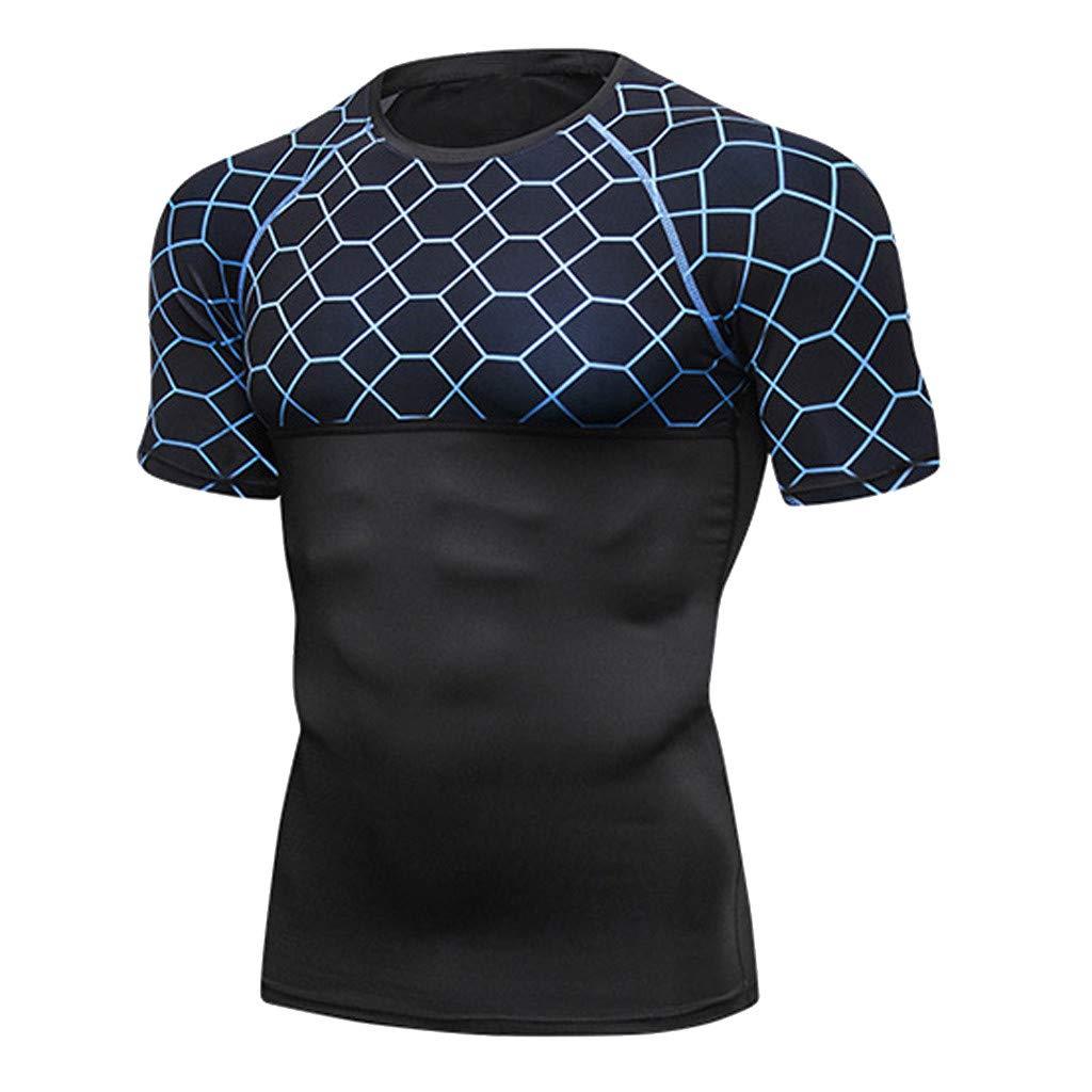 Pandaie Mens Blouse Shirts Mens Fitness Short Sleeve Rashguard T-Shirt Bodybuilding Skin Tight-Drying Tops