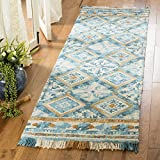 Cheap Safavieh Blossom Collection BLM421B Floral Vines Ivory and Teal Premium Wool Area Rug (2'3″ x 8′ )