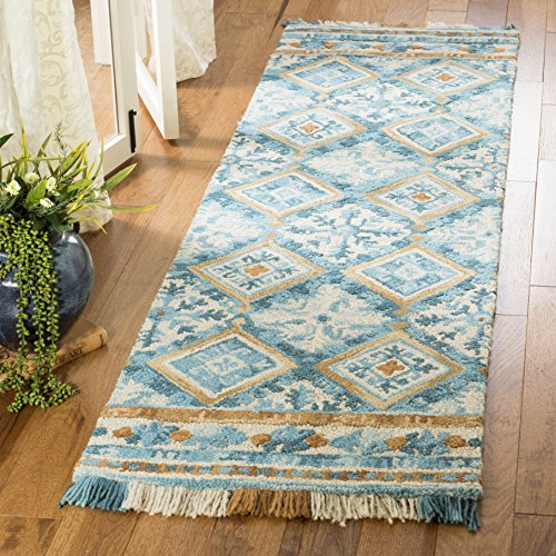 Safavieh Blossom Collection BLM421B Floral Vines Ivory and Teal Premium Wool Area Rug (2'3