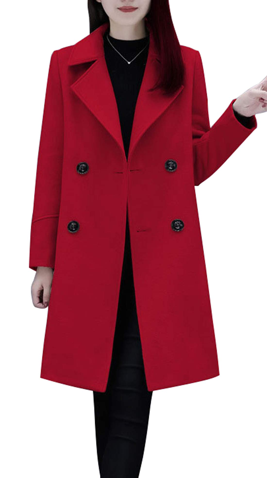 chouyatou Women's Basic Essential Double Breasted Mid-Long Wool Blend Pea Coat (Large, Red) by chouyatou