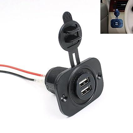 Cargador de Coche EUzeo 2.1A/12V/IP 44 Impermeable 2 puertos Mini Dual USB DC 12V - 24V USB Auto en el Zócalo del encendedor del cigarrillo del ...