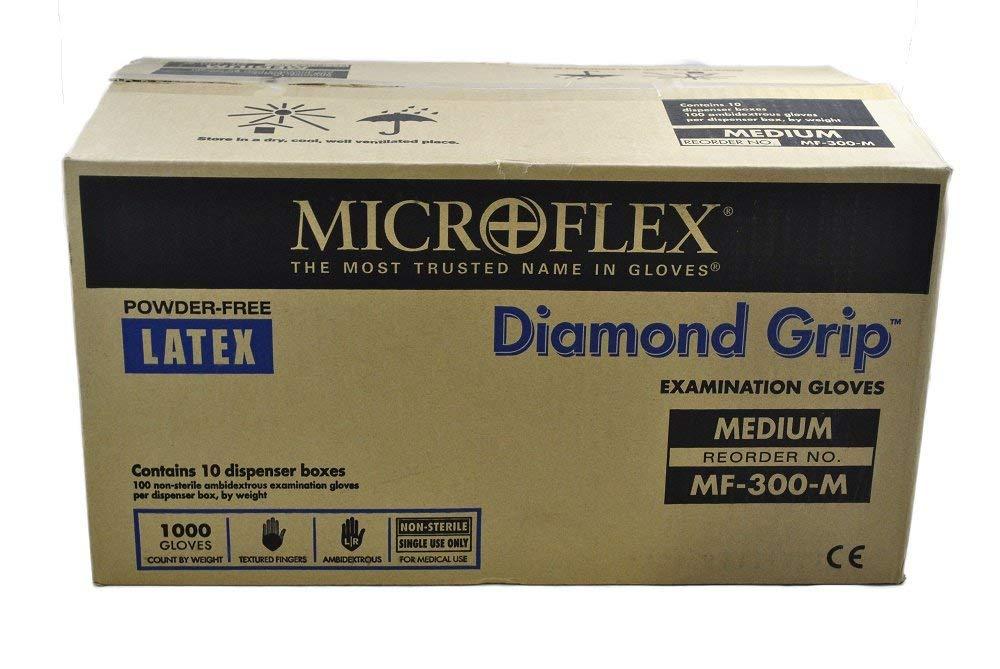 Microflex MF300M-10PK - Diamond Grip Powder-Free Latex Gloves - Case Of 10 Boxes, 100 Per Box, Medium by Microflex B002T11XJ0