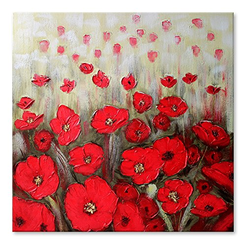 IARTS 100% Hand Painted Red Poppy Flowers Wall Art, Contemporary Acrylic Oil Painting, Floral Modern Wall Art Wrapped and Framed Ready for Home or Office Decorations, 22 (Acrylic Floral Paintings)