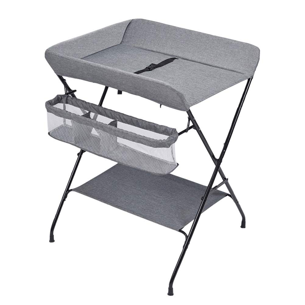 Baby Changing Table, Multifunction Massage Table with Storage, Diaper Station Collapsible - Gray