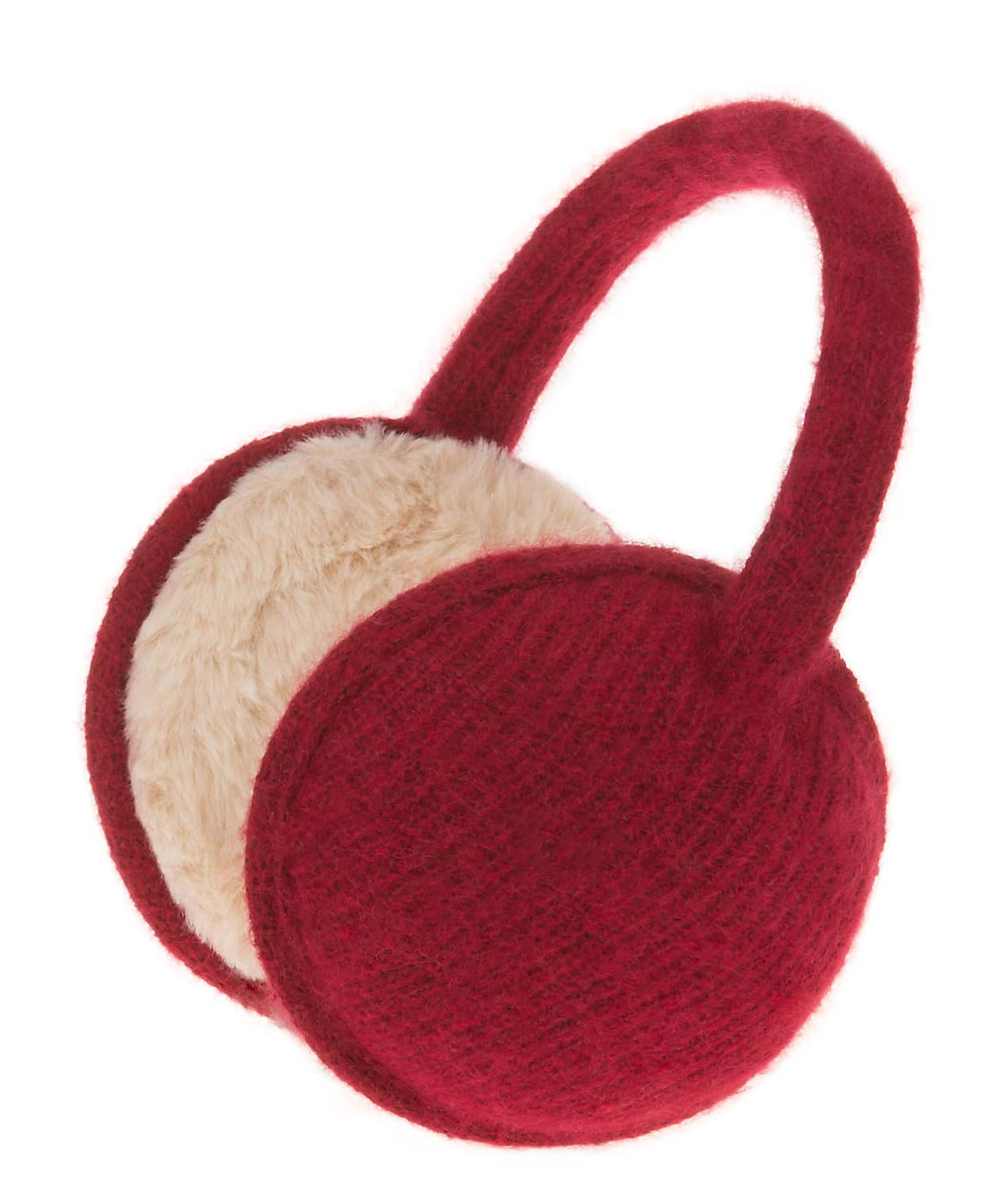 Knolee Unisex Classic Fleece Earmuffs Foldable Ear Muffs Winter Accessory Outdoor EarMuffs (One size, Wine red B)