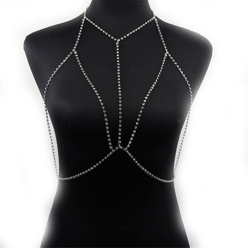 Crystal Rhinestone Women Harness Body Jewelry Bikini Bra Crossover Belly Waist Chain Silver Tone(Silver)