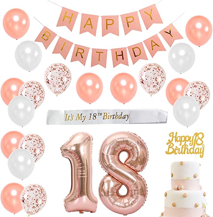 HOWAF 18th Birthday Party Decorations 24 Count 18th Birthday Rose Gold 18th Birthday Party Hanging Swirls Ceiling Decorations Shiny Foil Swirls for Girls Women 18th Birthday Party Decor Supplies