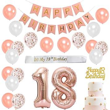 Dieciocho cumpleaños con decoraciones en oro rosa para niña - Artículos para fiesta de cumpleaños con faja blanca satinada, adorno para pasteles, ...