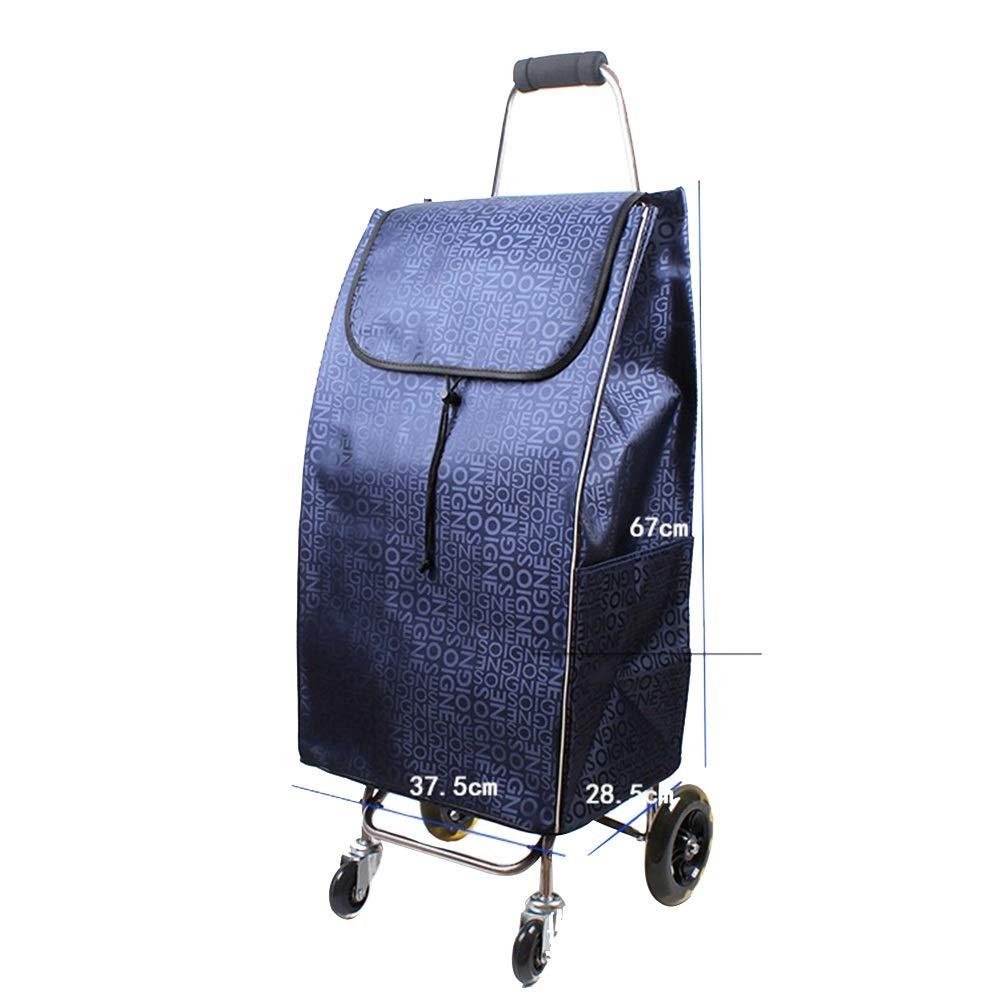 ZHAOHUI ショッピングカート ステンレス鋼管 折りたたみ可能 耐摩耗性 防水 オックスフォード布 軽量 サイレントホイール、 5色 (色 : 青)  青 B07LD9WY81