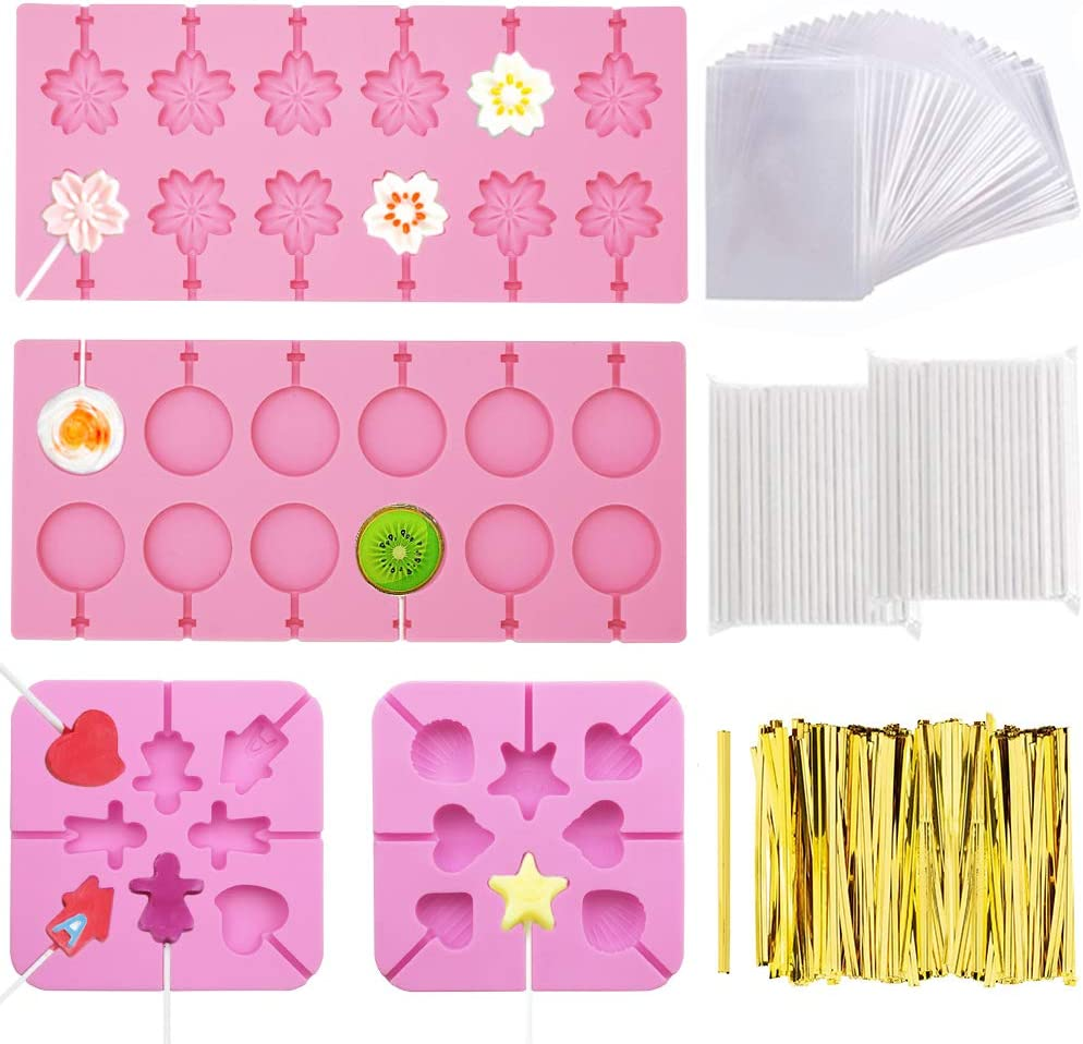 FULANDL 4Pack Silicone Lollipop Molds, Round Trays, Cherry Blossoms, Heart Chocolate Hard Candy Mold with 760Pcs Gold Ties, 200Pcs Lollipop Sticks, 100Pcs Lollipop Bags
