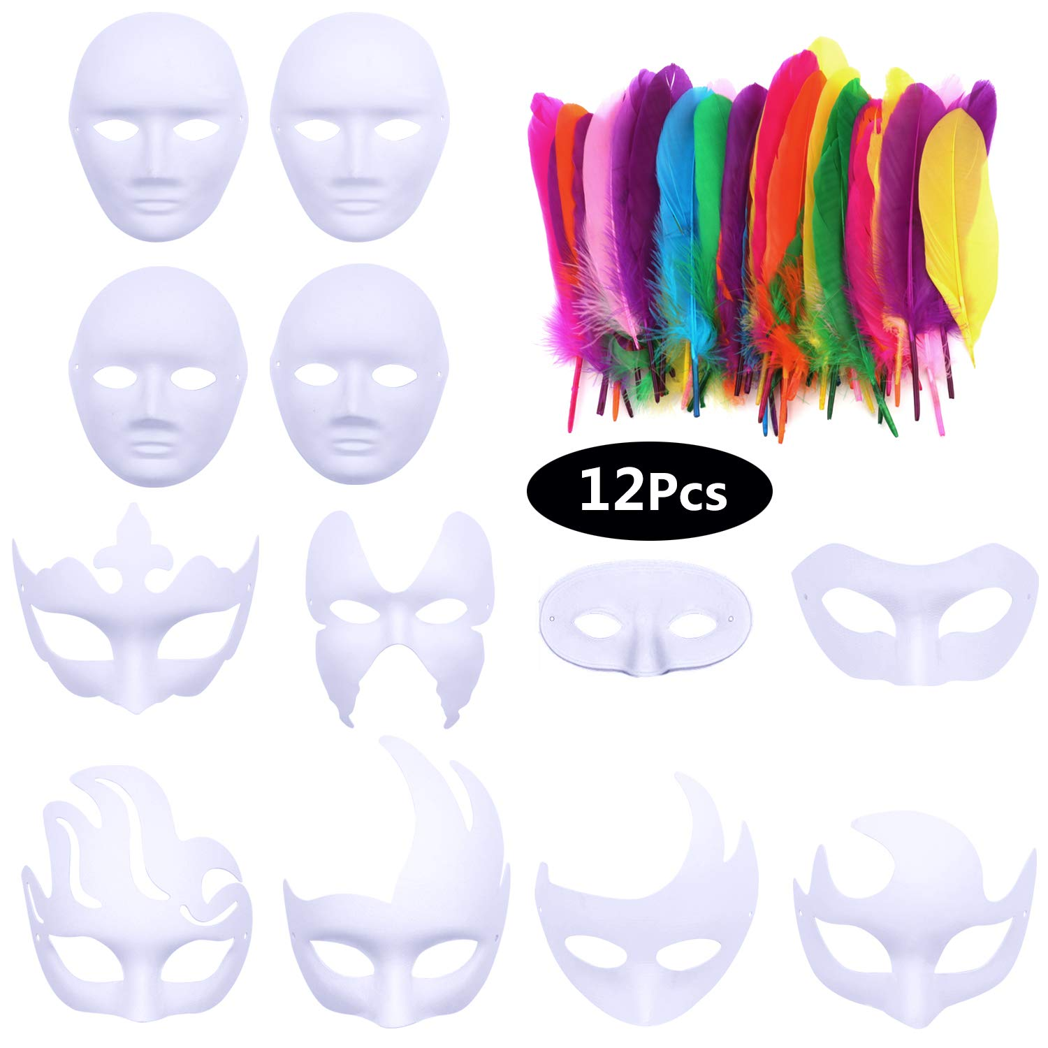 Aniwon White DIY Masks with Feathers, 12-Pack Paper Blank Plain Full Face Half Face Masks Natural Feathers Colors Set for Halloween Mardi Gras Cosplay Masquerade Dance Party