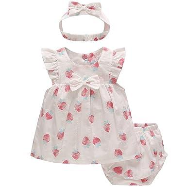 b5aa679de Baby Girls Summer Outfits 3PCS Clothing Sets Ruffle Dress + Shorts + ...