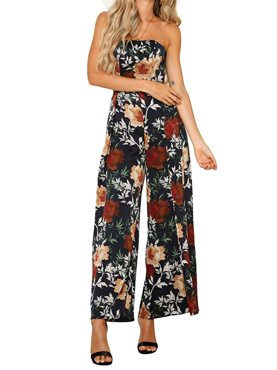 aa5aec69d5 Amazon.com: CA Mode Women's Floral Print Sleeveless Off Shoulder Tie Open  Back Wide Leg Pants Jumpsuit Rompers: Clothing