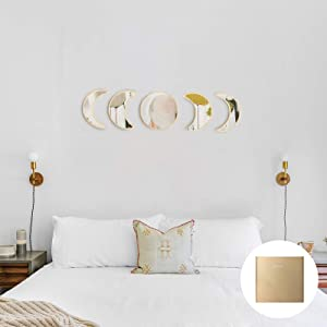 YUBAIHUI Scandinavian Bohemian Home Wall Decor Moon Phase Decorative Mirror Set Acrylic Bedroom Decoration Self Adhesive Ornament Living Room Decor (Beige)