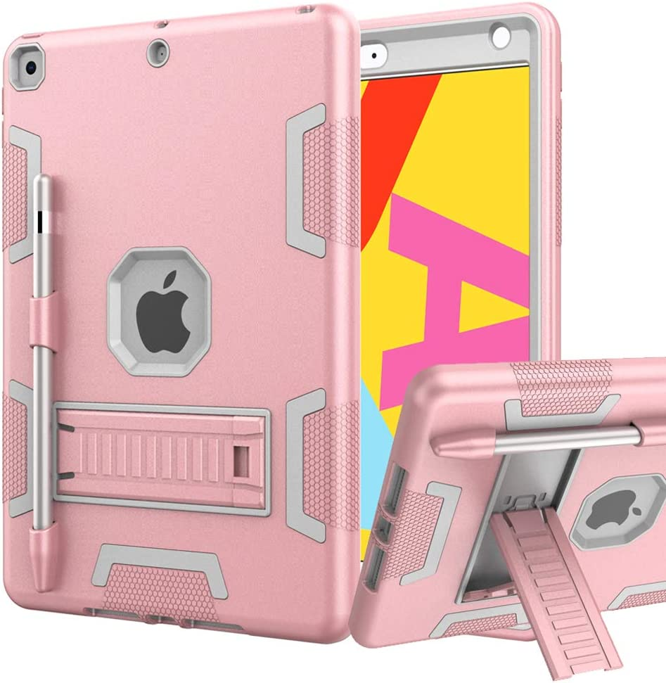 iPad 8th Generation Case, iPad 7th Generation Case, iPad 10.2 Case, Hybrid Shockproof Rugged Drop Protection Cover Built with Kickstand for iPad 10.2 Inch 7th/8th Generation (Rose Gold+Gray)
