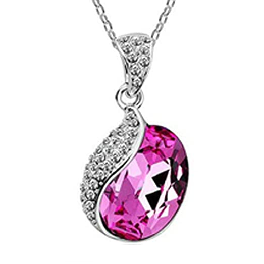 Amazon wrapables silver plated swarovski elements crystal wrapables silver plated swarovski elements crystal raindrop necklace rose red aloadofball Gallery