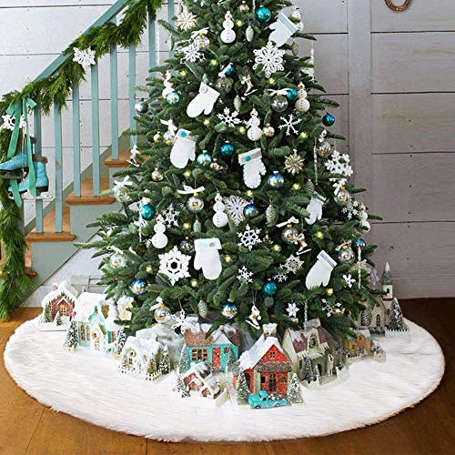 AMADE Christmas Tree Skirts White Luxury Faux Fur Tree Ornaments Plush XmasTree Skirt for Christmas Decoration New Year Party Holiday Decorations Pet Favors (48 inch Dia)