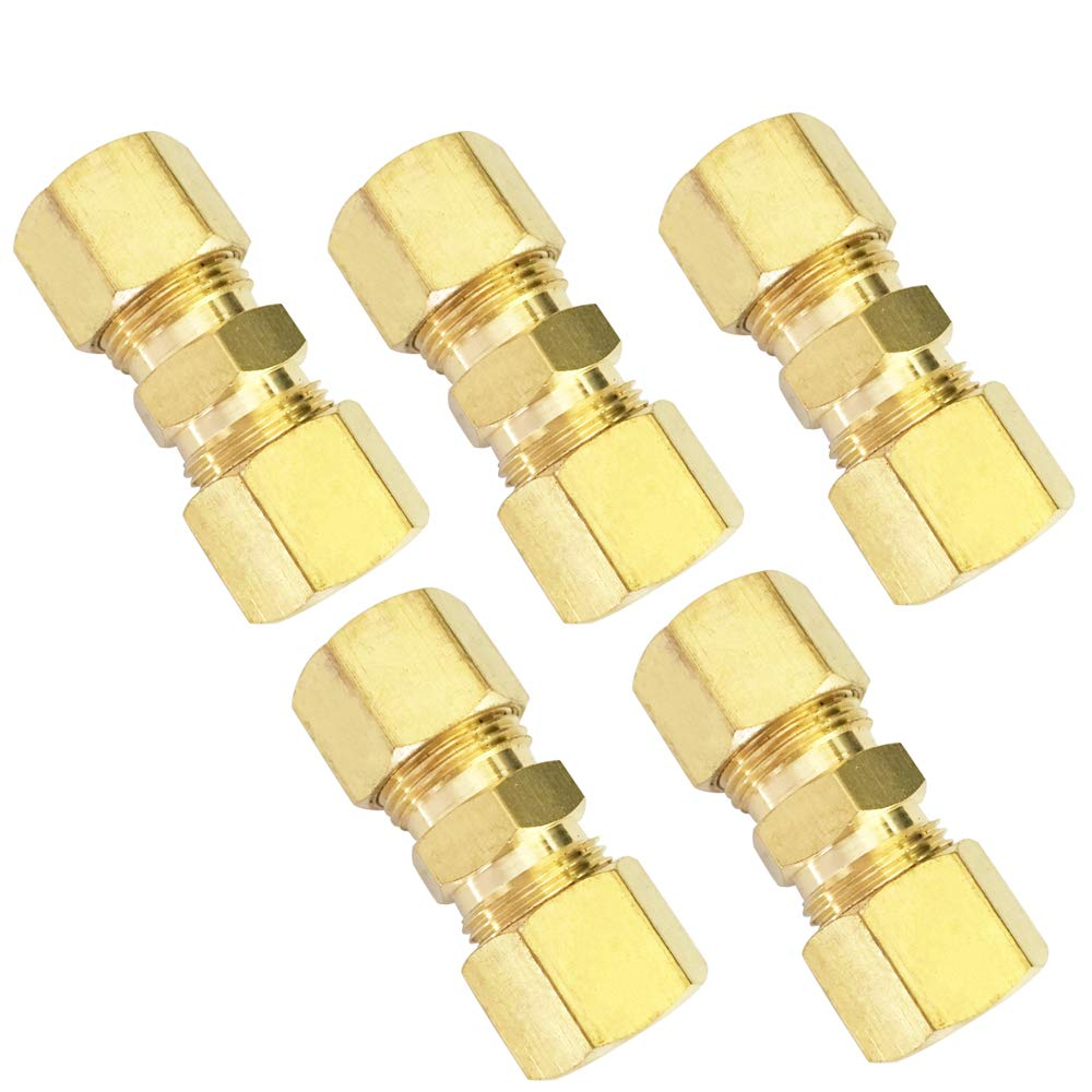 Brass Compression Tube Fitting, Union, 3/8'' OD x 3/8'' OD, 5pcs by MeiChi