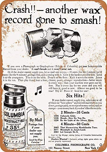 (TiuKiu Vintage Metal Signs - 1910 Columbia Phonograph Indestructible Cylinder RDS - 8