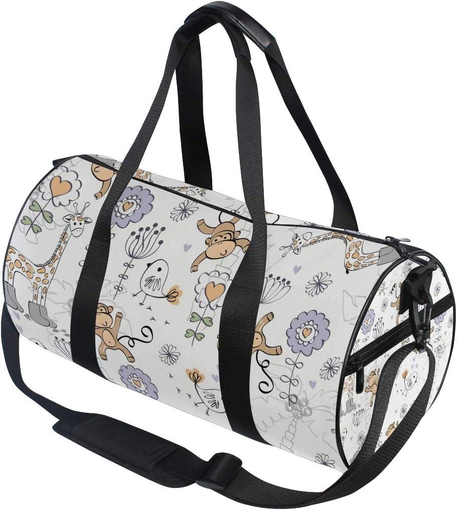 MALPLENA Giraffe Monkey Birds Drum gym duffel bag women Travel Bag
