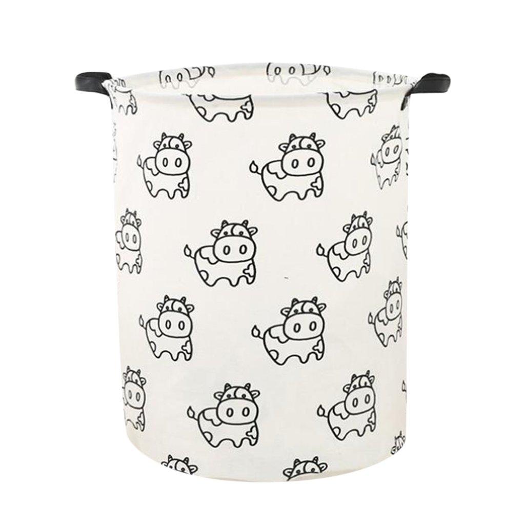 Homyl Kids Toys Storage Basket Bin Cloth Hamper Keep Tidy Clean Home Organization - Cow by Homyl