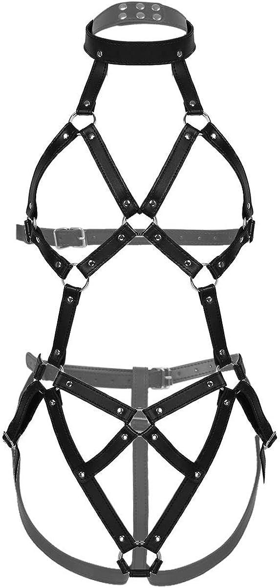 IEFIEL Harness Punk Wetlook Bodysuit Conjunto Cinturón de Arnés De Cuerpo Lencería Erótica para Mujer