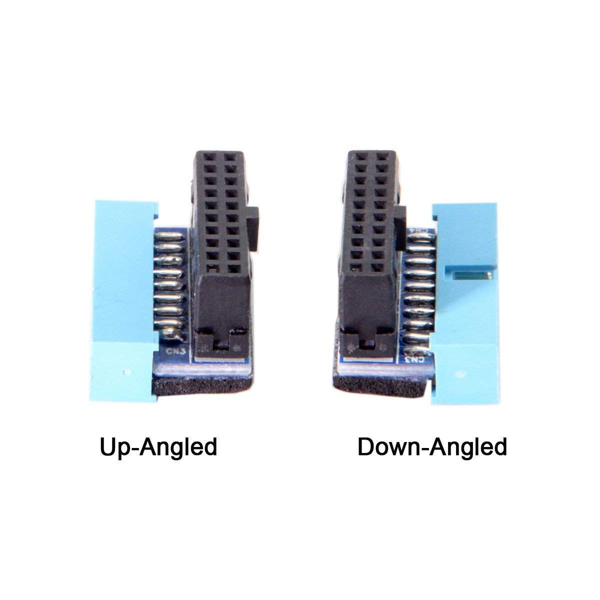 SODIAL USB 3.0 20pin Male to Female Extension Adapter Angled 90 Degree for Motherboard Mainboard (Up angled)