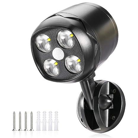 Foco LED detector de movimiento exterior, CrazyFire IP65 impermeable 600lm Lámpara de seguridad a batería